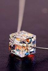 Facet gota de água de prata pingente de cristal esterlina