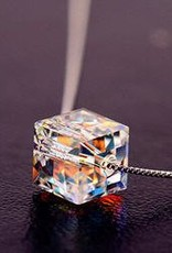 Fasett vann dråpe krystall anheng sterling silver