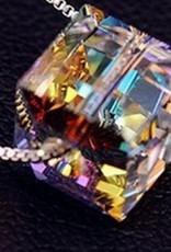Faceta gota de agua de plata esterlina colgante de cristal