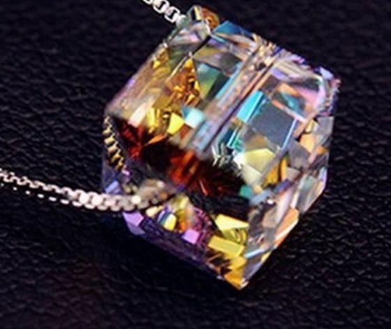 Facet waterdruppel krystal hanger sterling zilver