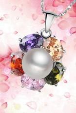 ΑΑΑ ποιότητας πραγματικό στολίδι με ασημένια μενταγιόν και κρυστάλλινα στρας Arco Iris.
