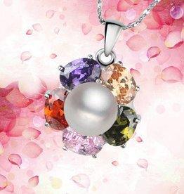 AAA grade riktig pärla med silver hänge och kristallklart strass arco iris.