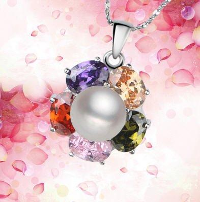 AAA grade ægte perle med sølv vedhæng og krystal klar rhinestone Arco Iris.