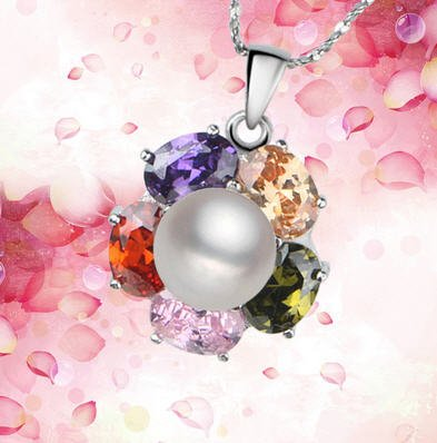 AAA grade rare perle avec pendentif en argent et cristal pierres du Rhin clair arco iris.
