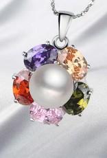 AAA grade ekte perle med sølv anheng og krystallklart Rhinestone arco iris.