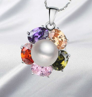 Verdadera perla -joya de calidad AAA con colgante de plata y diamantes rhinestone de cristal claro arco iris.