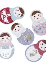 6 clothes matryoshka buttons 10-15 mm mixed motives