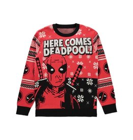 Difuzed DEADPOOL Knitted Christmas Sweater Here Comes Deadpool!