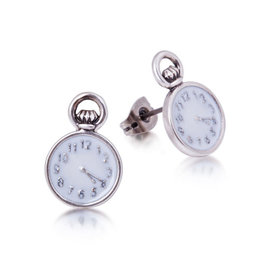 Couture Kingdom ALICE Earrings Stud White Gold Plated - Clock