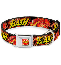FLASH - Dog Collar (L) 38/66 - 2,5 Cm - Red/Text