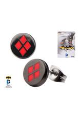 DC COMICS - Black Plated Harley Quinn Logo Stud Earrings
