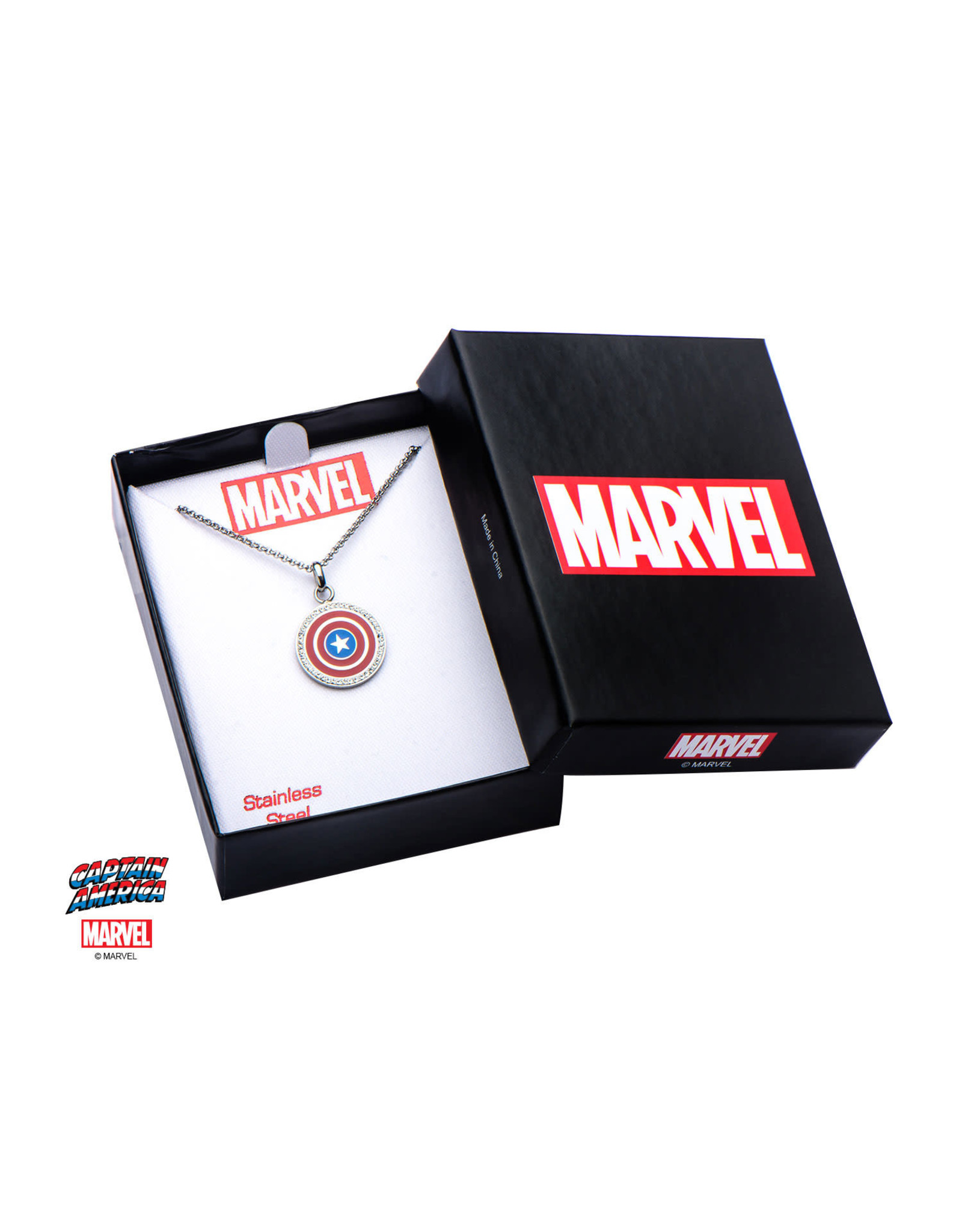 MARVEL  Women's Stainless Steel Capt America Shield Pendant with Chain