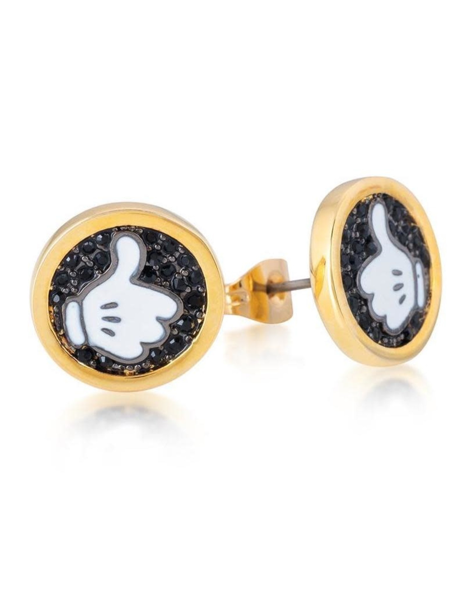 DISNEY MICKEY MOUSE - Glove Thumbs Up Stud Earrings 'Gold Plated'