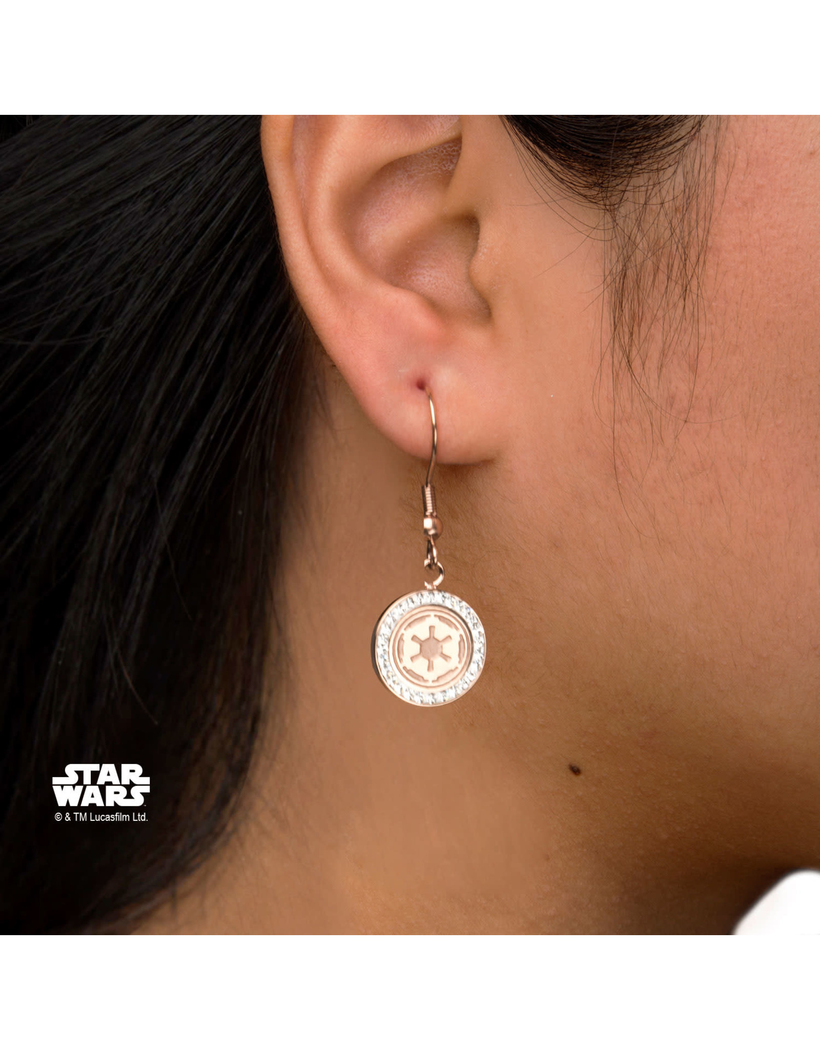 STAR WARS - Stainless Steel Gold P Empire Symbol Hook Dangle Earrings