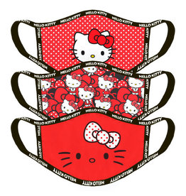 Difuzed HELLO KITTY Adult Face Mask Set of 3 Red