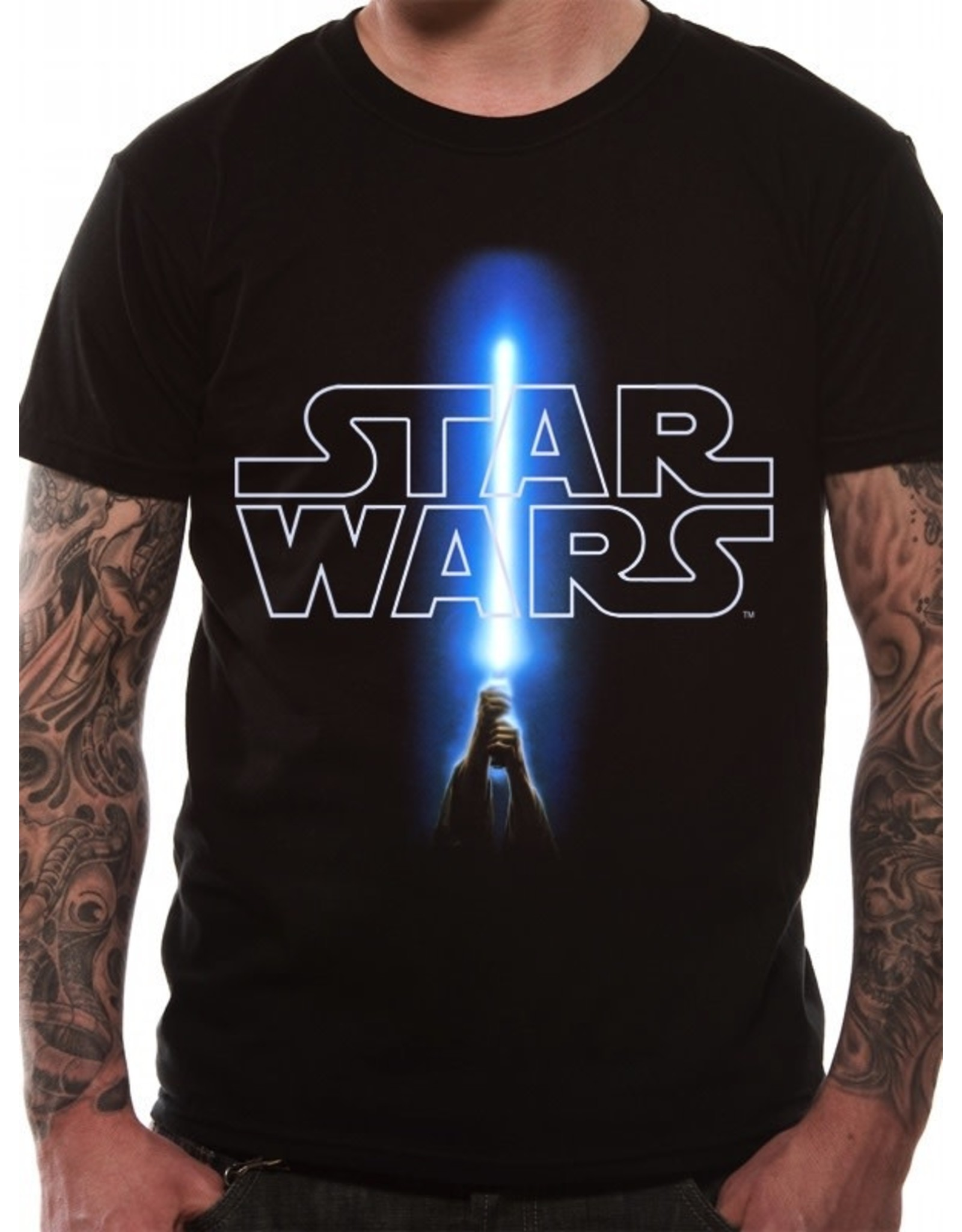 STAR WARS - T-Shirt IN A TUBE- Logo and Saber (XL)