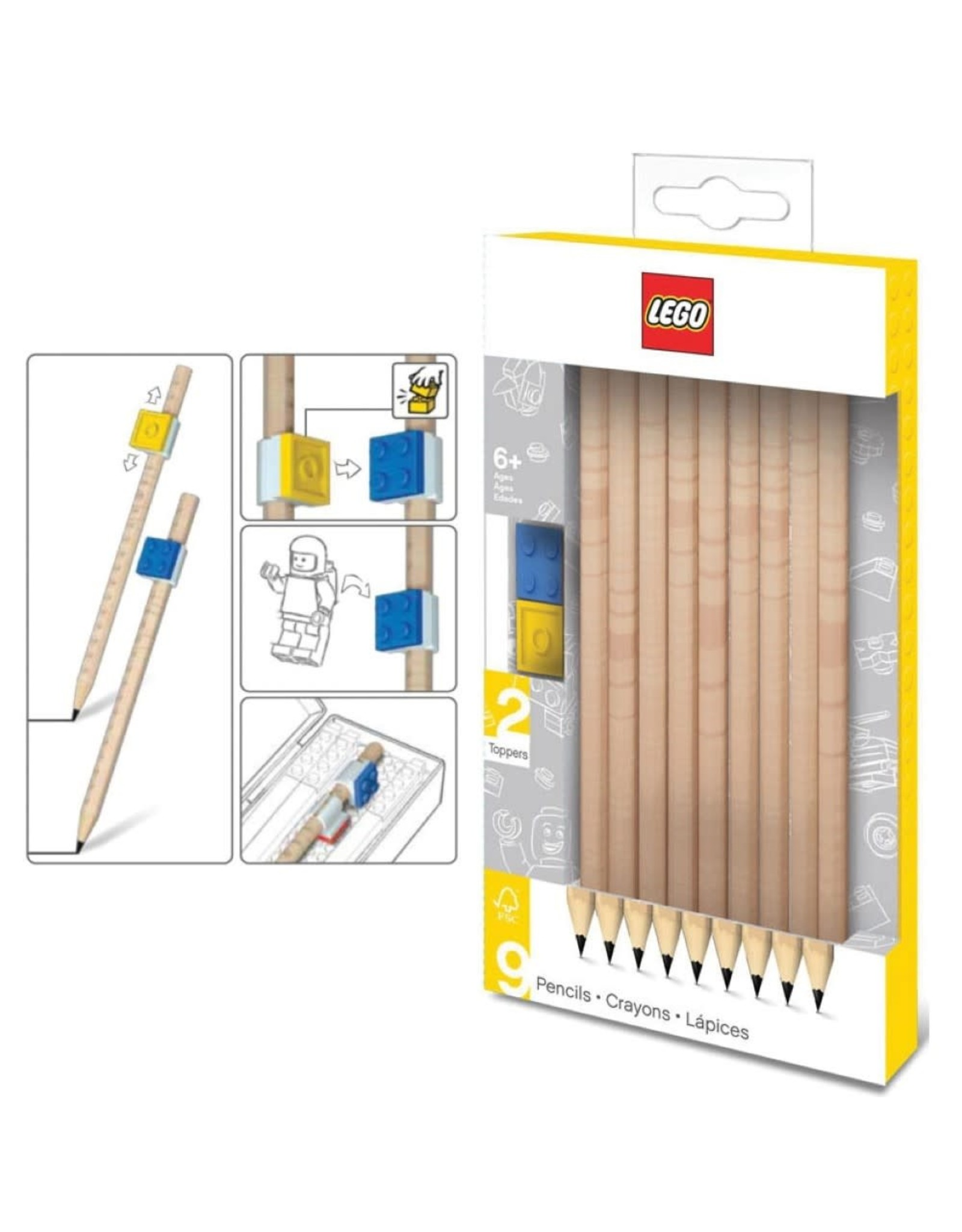 LEGO Graphite Pencils With Toppers - 9 pcs