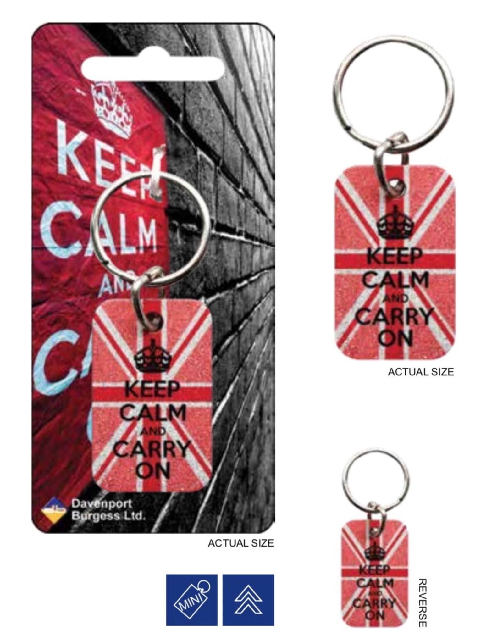 KEEP CALM Metal Keychain - Glitter Pink