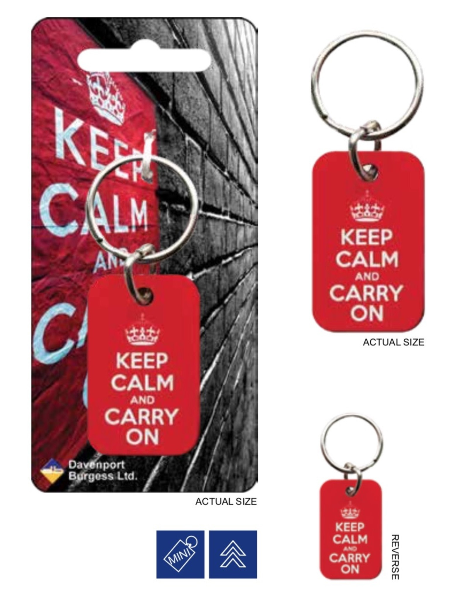 KEEP CALM - Metal Keychain - Red