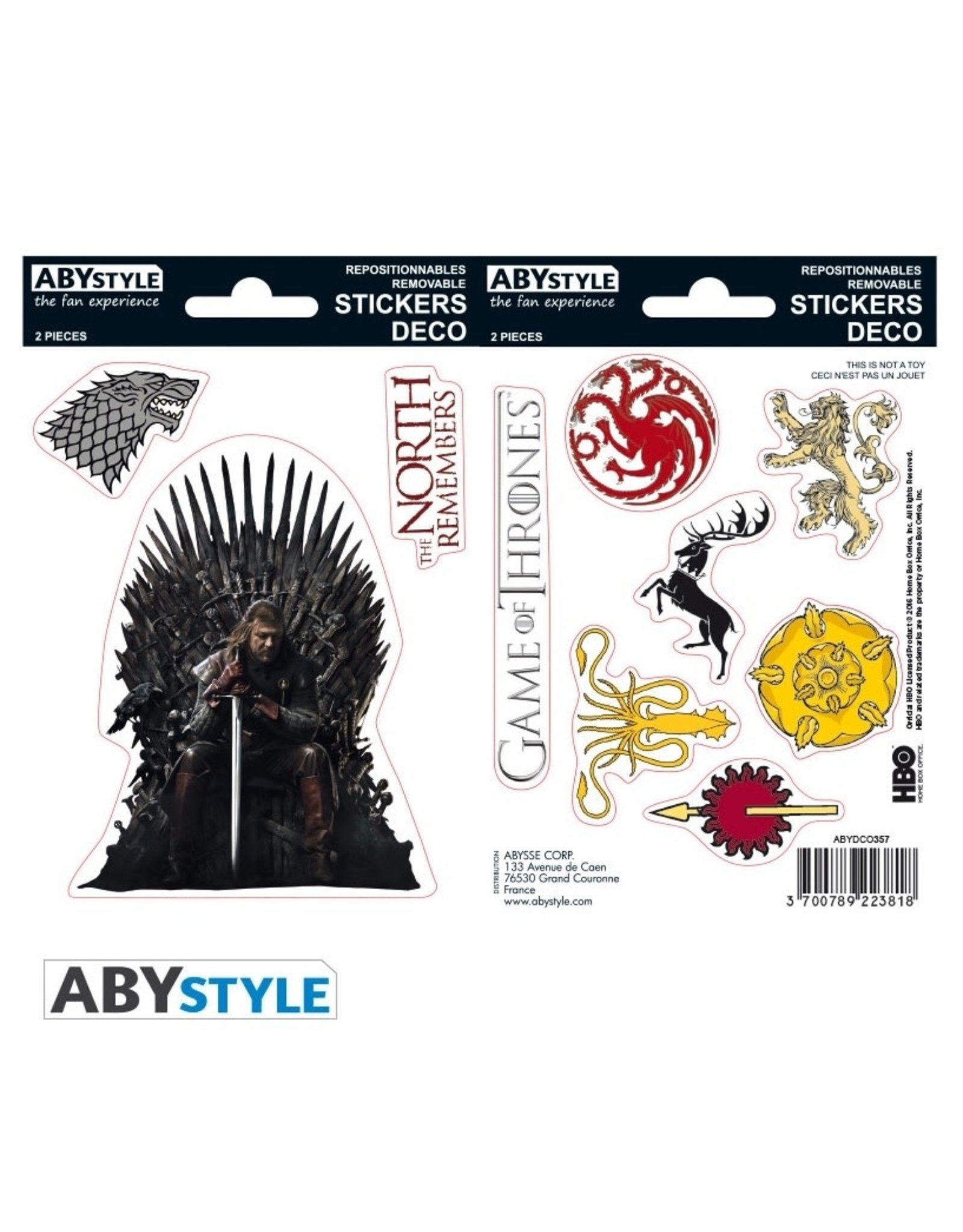 GAME OF THRONES - Stickers - 16x11cm / 2 Sheets - Stark/Sigils