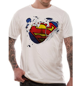SUPERMAN - T-Shirt IN A TUBE- Torn Logo (L)