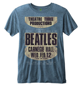 THE BEATLES - T-Shirt BurnOut Col - Carnegie Hall - Blue - Men (M)