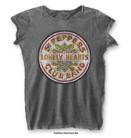 THE BEATLES - T-Shirt BurnOut Col - Sgt Pepper Drum - Woman (L)