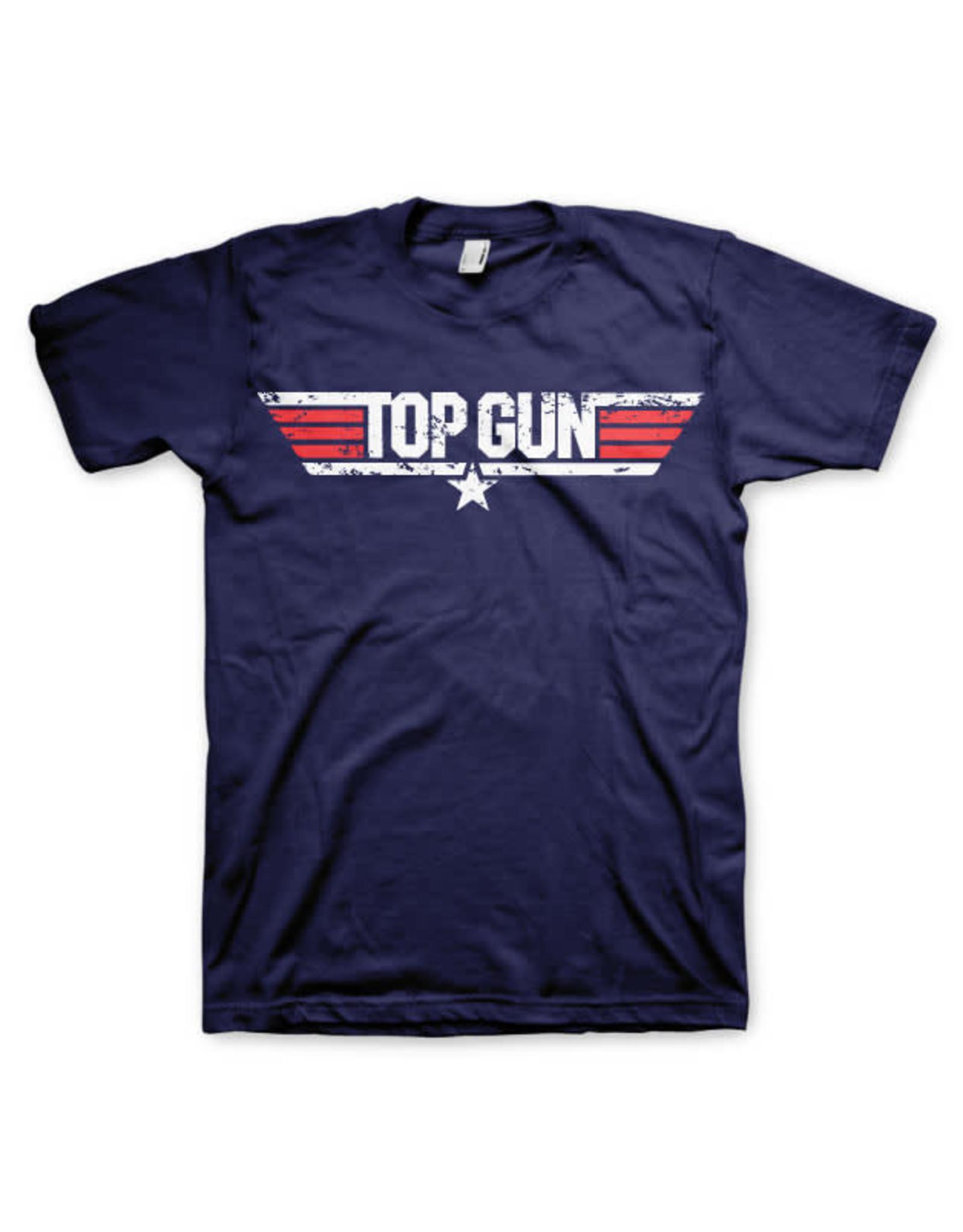 TOP GUN - T-Shirt Distressed Logo - Navy (L)
