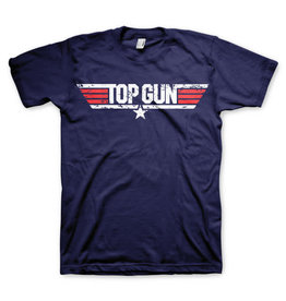 TOP GUN - T-Shirt Distressed Logo - Navy (L)