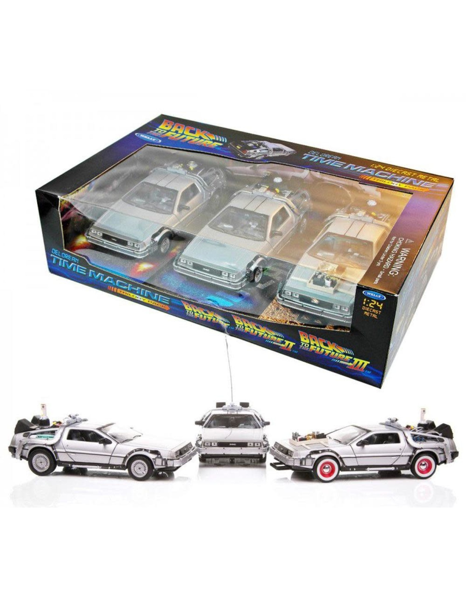 Welly BACK TO THE FUTURE Time Machine Trilogy Pack 1:24