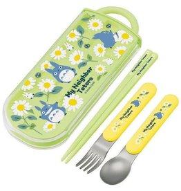 Skater MY NEIGHBOR TOTORO Chopsticks, Spoon & Fork Set - Daisies