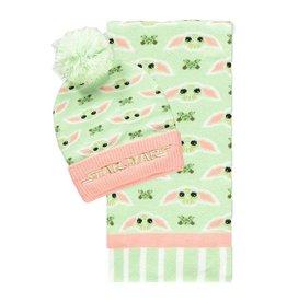 Difuzed STAR WARS Beanie & Scarf Set - Grogu Pink & Green