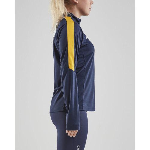 Craft Craft Progress Halfzip Long Sleeve Tee, dames, Navy/Yellow