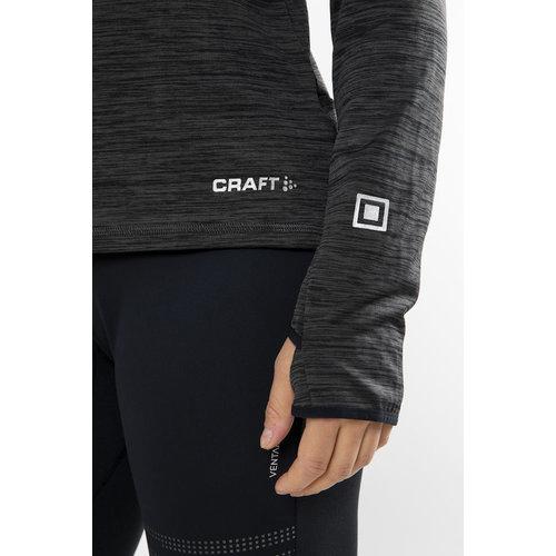 Craft Craft Grid Halfzip, dames, Black Melange