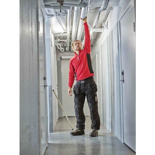Jobman 5401, Halfzip Sweatschirt, heren, Rood/Zwart