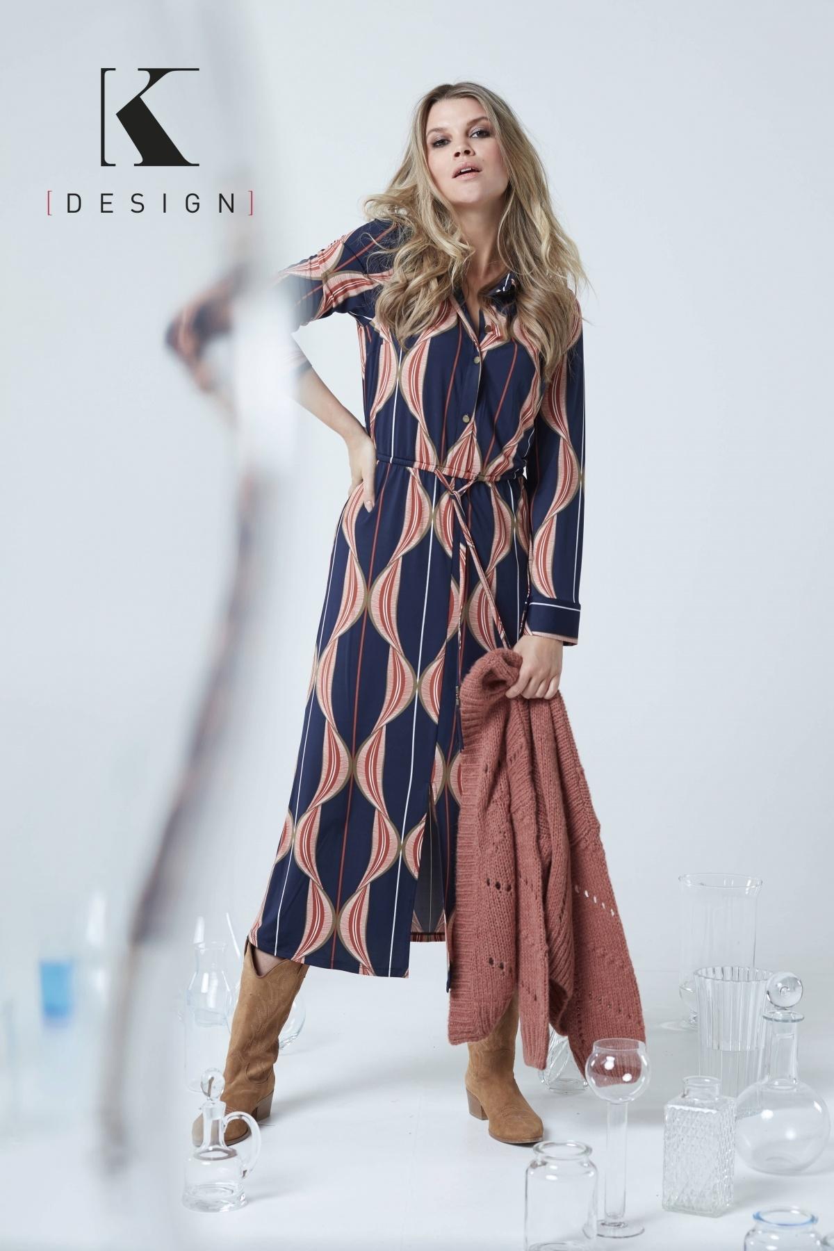 K-Design K-Design jurk met kwastjes en print