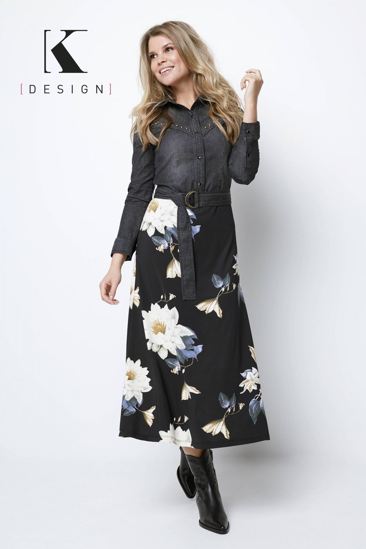 K-Design K-Design maxi jurk met jeans, riem & print