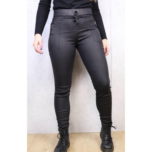 Norfy Denim Norfy Leatherlook broek zwart met ritsjes en koord