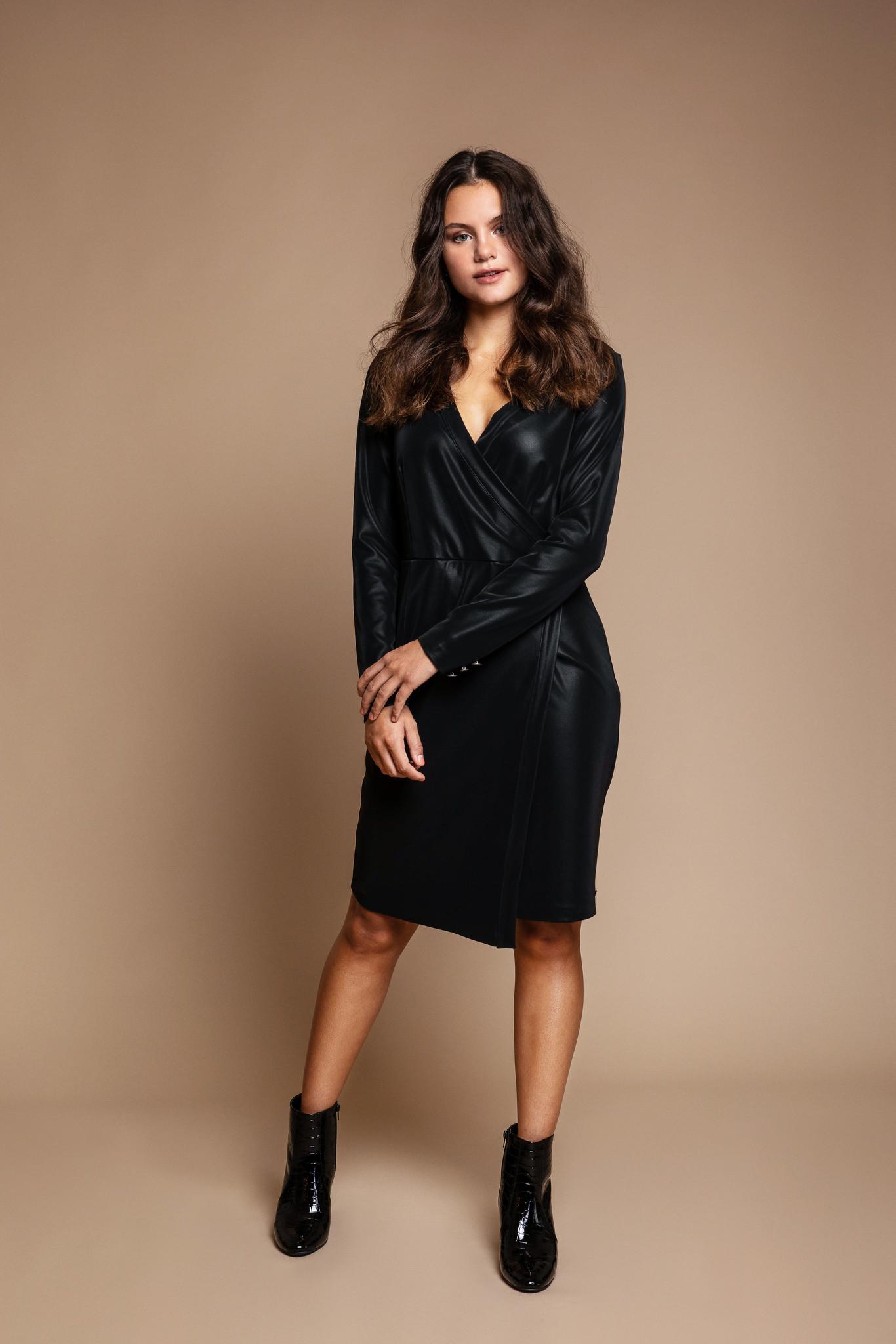 Dayz Dayz jurk Gallie zwart leatherlook