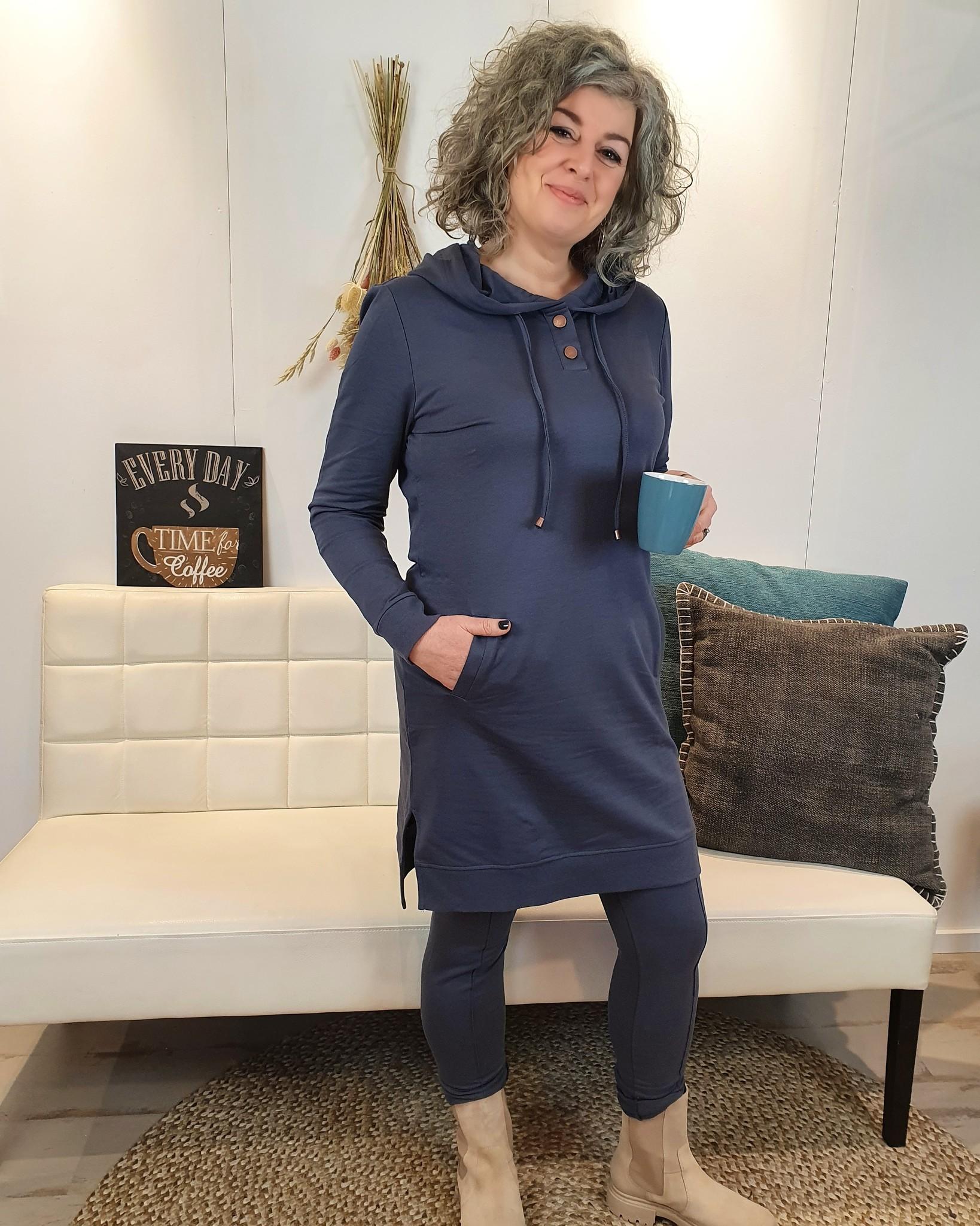 Zoso Zoso Nina Luxury sporty Hooded tunic  shadow blue/ copper