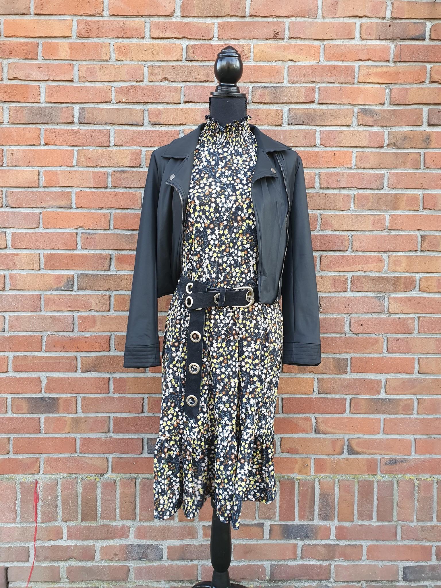 G-Maxx G-Maxx jurk Dess zwart/geel mix
