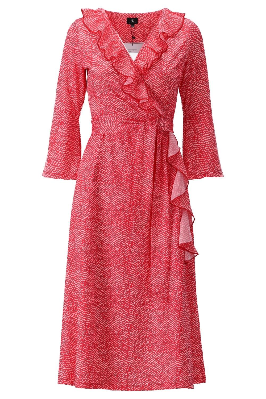 K-Design K-Design jurk rood overslag met roezels S114