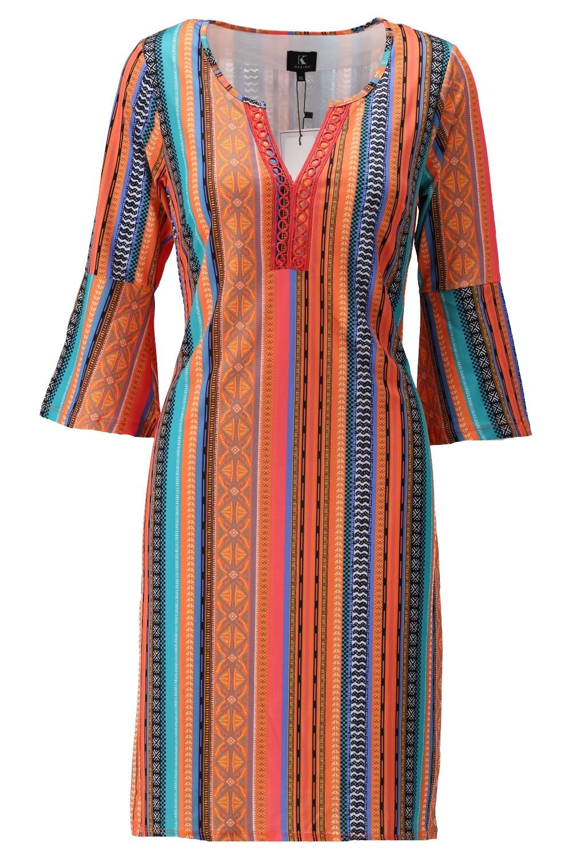 K-Design K-Design jurk met borduursel & print S136