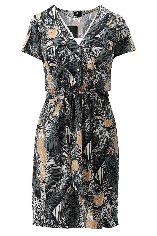 K-Design K-Design jurk met zakjes & print S898