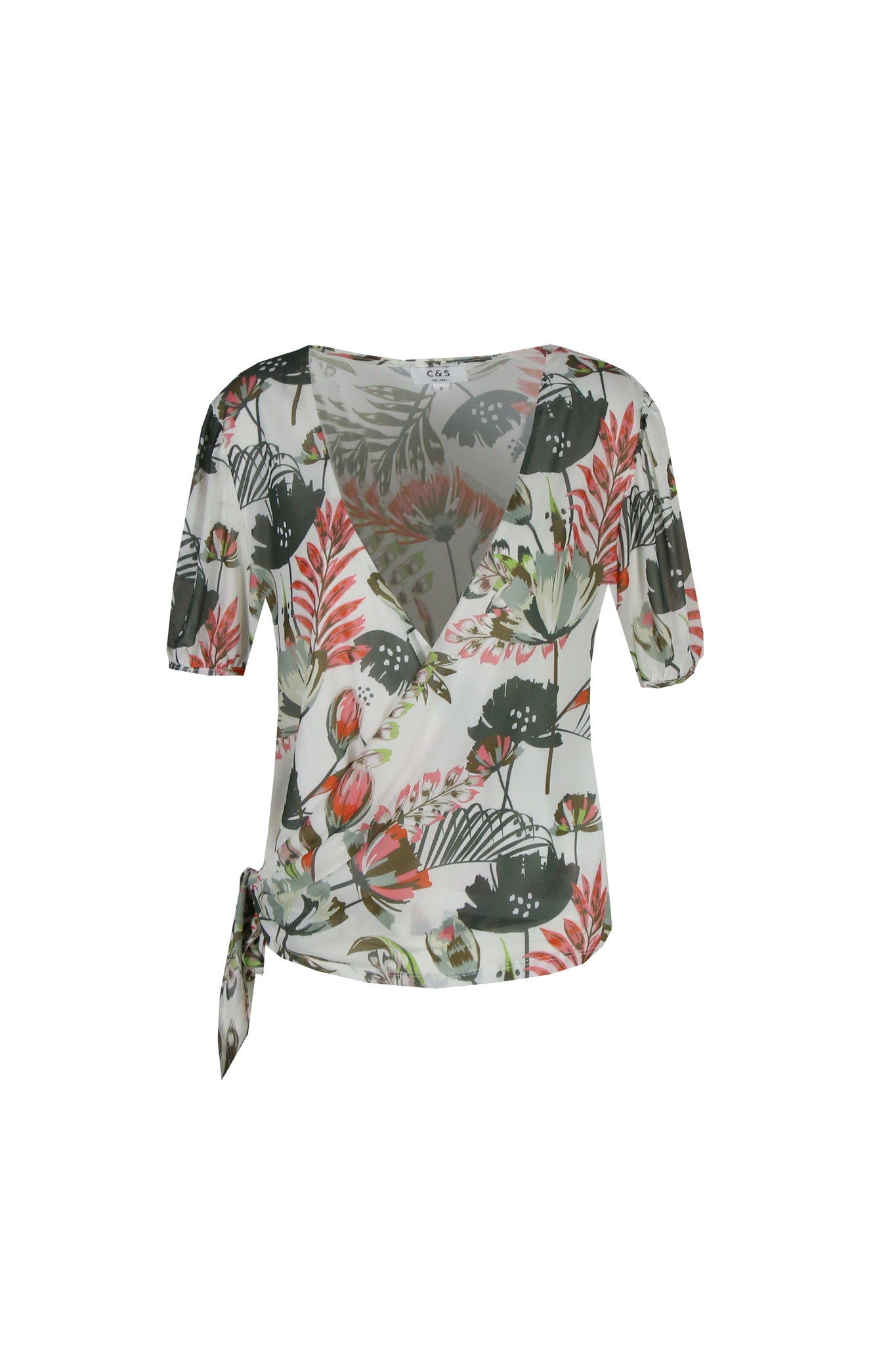 C&S The label C&S The label top Manouk off-white/rood