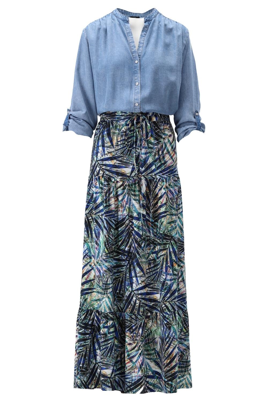 K-Design K-Design jurk met jeans top & print S854