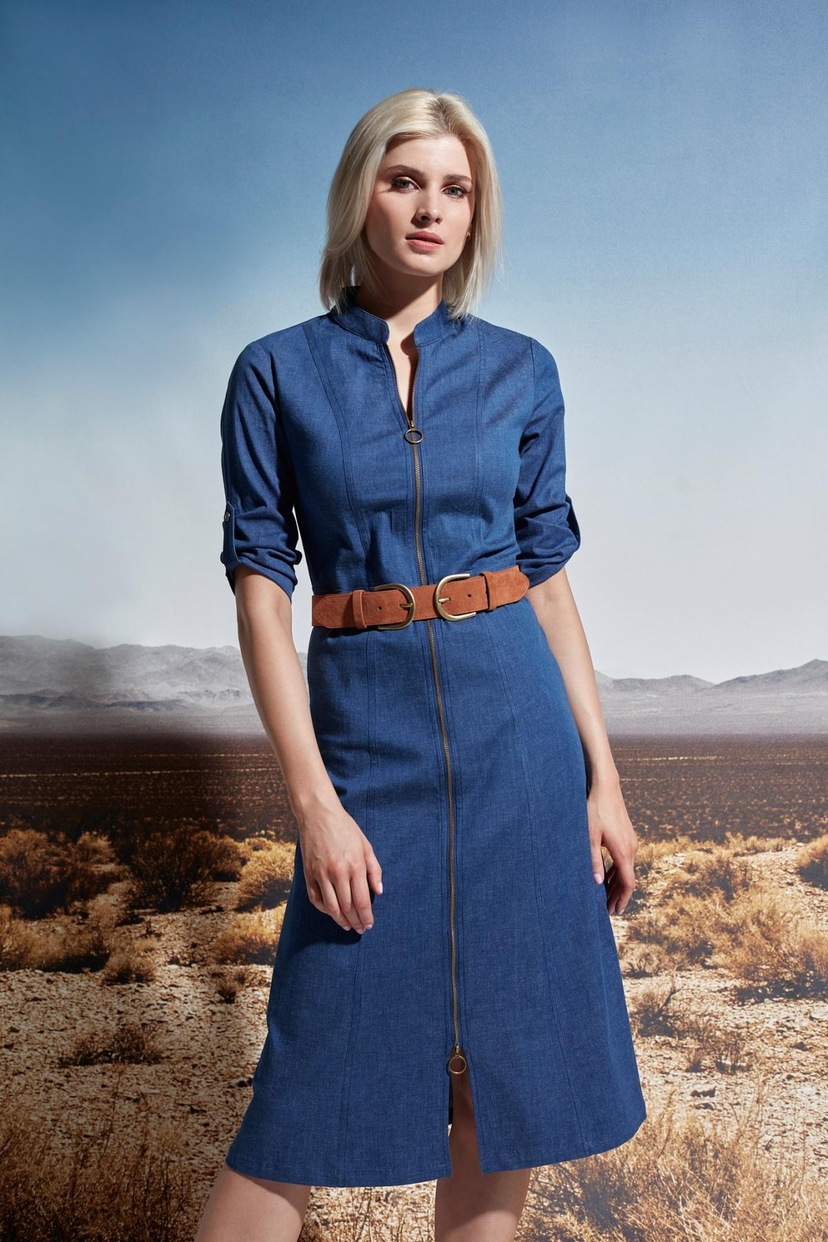K-Design K-Design jurk jeans jurk met riem S924