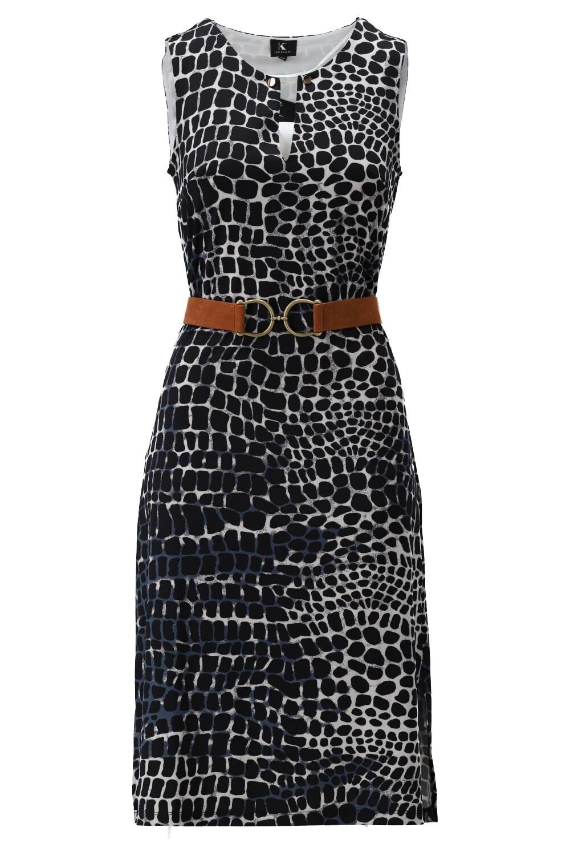 K-Design K-Design jurk midi met riem & print S883