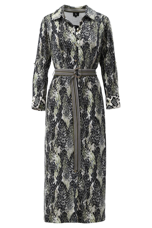 K-Design K-Design jurk slangenprint met riem s885