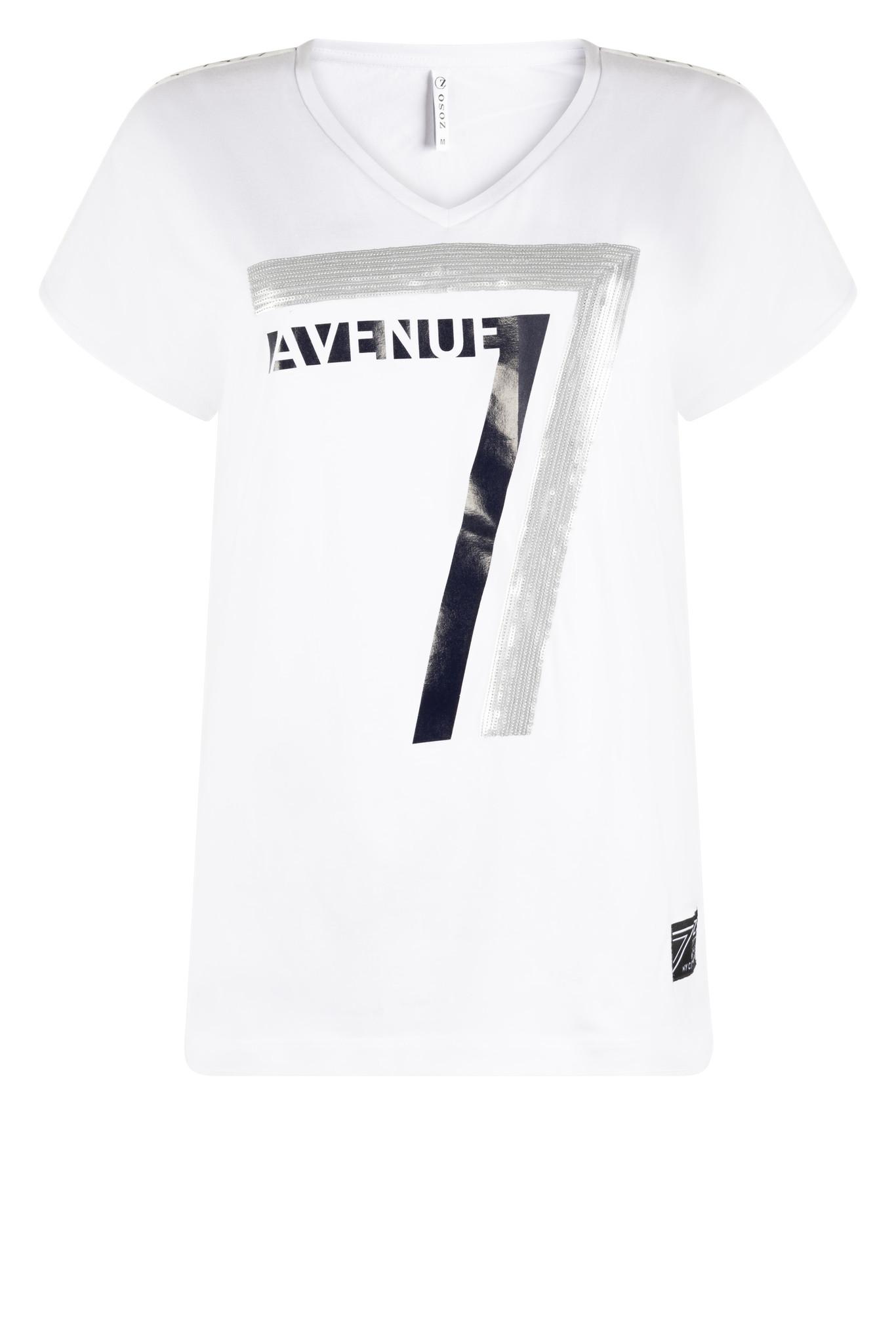 Zoso Zoso Britt T-shirtwith print & sequins white/navy